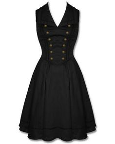 Stunning Steampunk military style dress in slinky black sateen cotton fabric. Comprising a fitted, V-neck bodice featuring oversize lapels, military-inspired bronze coloured buttons and black rope-braid contour trim with a knee length pleated skirt with matching braiding trim at the hem. Finished beautifully with side zip opening and adjustable corset lacing to the rear of the bodice for a perfect fit, detailed with copper aglets and tassels!