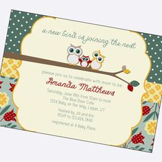owl baby girl shower invitations shabby chic by BlueFenceDesigns, $11.00