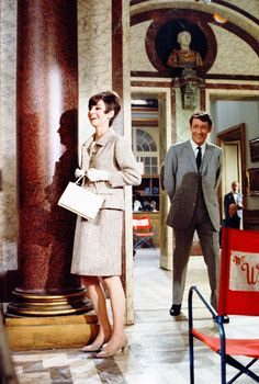 Audrey Hepburn and Peter O'Toole filming How to Steal a Million in Paris, France, 1965.