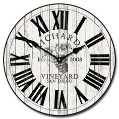 White Washed Wine Barrell Lid Clock
