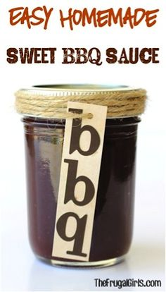 Jazz up your Chicken, Burgers and Ribs with this Easy Homemade BBQ Sauce! Making your own delicious Barbecue Sauce is a snap with this Easy Homemade Sweet BBQ Sauce Recipe! Homemade Bbq, Homemade Sauce, Homemade Barbeque Sauce, Homemade Burgers, Homemade Sweets, Homemade Seasonings, Homemade Gifts, Sauce Recipes, Cooking Recipes