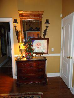 Foyer (Santa Painting) at Christmas time.