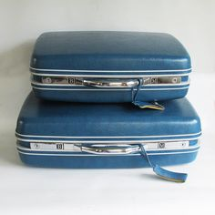 Peacock Blue Samsonite Silhouette Two Piece Luggage Set by leapinglemming on Etsy
