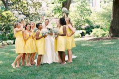 cheery yellow bridesmaid dresses | Freshly Wed #wedding