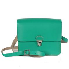 Bohemia Boho Pop Mini Absinthe Green Leather Satchel
