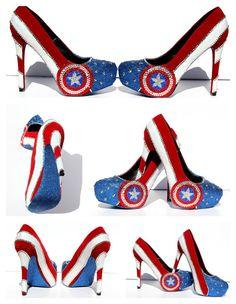 Captain America Heels with Swarovski Crystals by WickedAddiction, $175.00