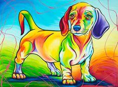 dachshund ~The Artwork of Steven Schuman Action Painting, Animal Paintings, Animal Drawings, Dachshund Art, Daschund, Dog Illustration, Rainbow Art, Arte Pop, Dog Portraits