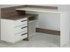 Flexi wooden corner computer desk in canadian oak - Table bureau blanc ...