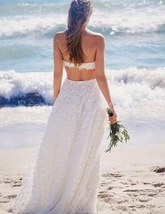 Charming Beach Lace Wedding Dress 2018 Sexy Backless Strapless Two Piece Bridal Gowns Floor Length Bride Dresses Long vestido de noiva
