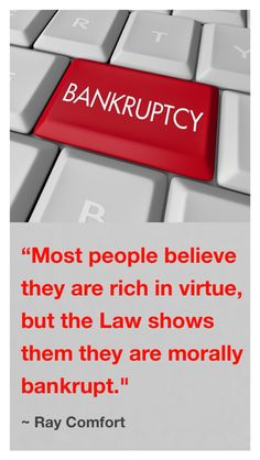 """In Ray Comfort's book, """"The Way Of The Master"""", he said, """"Most people believe they are rich in virtue, but the Law shows them they are morally bankrupt. If they do not declare bankruptcy, the Law will mercilessly call for their last drop of blood."""" - This is so well put. The problem is that most people mistakenly feel that they have some virtue, some goodness to offer God. The Bible tells us that """"all our righteousnesses are as filthy rags""""(Isa. 64:6b). Romans 2:4b says the goodness of God…"""
