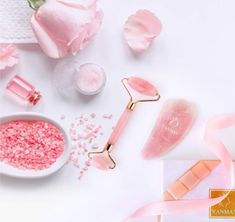 Updated Natural Rose Quartz Roller and Gua Sha Set Beauty Rose Quartz Facial Massager for Wrinkles, Anti-Aging, Slimming, Firming Facial Massage, Spa Massage, Microcurrent Facial, Crystal Aesthetic, Face Roller, Reduce Dark Circles, Gua Sha, Makeup Course, Floral Logo