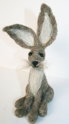 Needle Felted Grey Hare - Hand made to order - pinned by pin4etsy.com