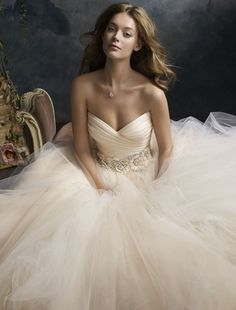 Lazaro 2013 Style LZ3108 - Sweetheart Ball Gown in Silk Satin Sherbet tulle ball bridal gown, pleated silk satin organza bodice with sweetheart neckline, floral jewel encrusted band at natural waist, circular gathered skirt, chapel train. Price:$$ ($3001 - $5000)