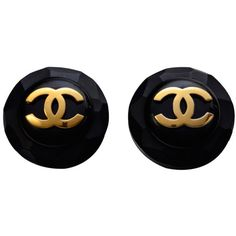 Pre-owned Chanel Clip On  Large Earrings (€1.055) ❤ liked on Polyvore featuring jewelry, earrings, accessories, black, chanel, clip-on earrings, chanel earrings, clip back earrings, black clip on earrings and clip on earrings