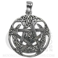 Cut-Out Style Horned MOON PENTACLE Pendant Dryad Design .925 Sterling Silver - CELTIC ISIS Wicca Pagan with the upturned Horns of Isis and Celtic swirls This pentacle is carved with Celtic knotwork as