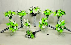 black and lime green wedding ideas  | lime green white black calla lily feather damask bridal bouquet ...