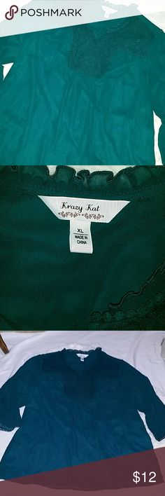 Krazy kat Tunic long sleeve. Cute Top XL size. Shell 100% Polyester, Lining 10% polyester, exclusive decoration. Like new. Green deep color. Krazy Kat Tops Tunics