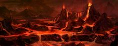Mustafar volcanoes and lava pits