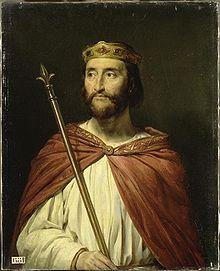 Charles III, dit le simple, roi de France en 896 (879-929) peint par Georges Rouget (1783-1869). Peinture acquise en 1838 et conservée au musée de Versailles. -. Charles III le Simple (? 879-Péronne 929). Fils posthume de Louis II le Bègue, il devrait succéder à son frère Carloman quand celui-ci meurt en 884. Mais beaucoup de seigneurs francs, craignant le danger normand, refusent un roi de 5 ans et lui préfèrent Charles de Gros, puis en 887, Eudes, comte de Paris.