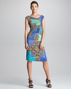 Asymmetric-Ruched Dress, Blue by Etro at Neiman Marcus.
