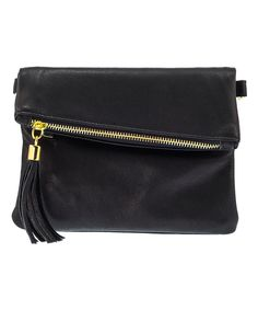 Look at this Black Leather Fold-Over Crossbody Bag on #zulily today!