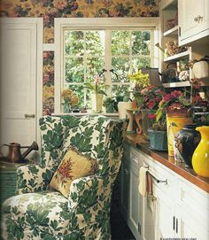Potting Room/I remember falling in love with this room the wallpaper was part of it