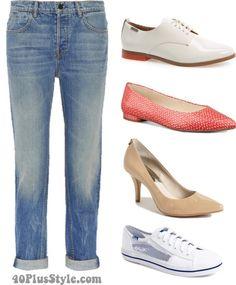 boyfriend jeans best shoes flats oxfords heels | 40plusstyle.com