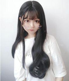 Big wave long roll wig YV40433 | Youvimi Cute Korean Girl, Cute Asian Girls, Cute Girls, Ulzzang Fashion, Ulzzang Girl, Kawaii Cute, Kawaii Girl, Korean Beauty, Asian Beauty