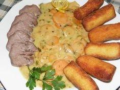 Karcsi főzdéje: Sertésnyelv vadasan Pretzel Bites, Pot Roast, Bread, Chicken, Ethnic Recipes, Food, Carne Asada, Roast Beef, Eten