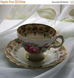 Vintage Rosina teacup  floral vintage teacups  by NewtoUVintage