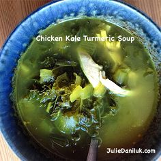 Chicken Kale Turmeric Soup by Julie Daniluk Healthy Gourmet, Healthy Eating, Paleo Recipes, Soup Recipes, Turmeric Soup, Slimming Eats, Soup And Salad, Side Dishes, Main Dishes