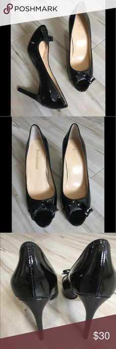 Enzo Angiolini patent leather heels peep toe 6.5 Size 6.5 gently worn open toe / peep toe patent leather pumps with delicate bow. Flirty , and sassy, they go with many outfits — just not my post op toes! Enzo Angiolini Shoes Heels