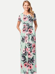 Vinfemass Bohemian Floral Printed Long Dress da52ac730123
