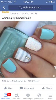 Turquoise and white nail art