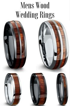 The most unique wedding bands for men. These mens wedding bands are made with 100% real wood. 100% waterproof and extremely durable!