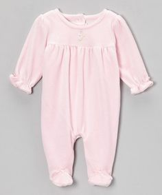 Take a look at this Pink Flower Velour Footie - Infant by le top baby on #zulily today!