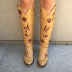 Vintage 1970's Larry Mahan tan authentic leather butterfly and floral bohemian tall cowboy western boots women's size US 7