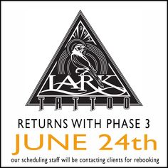 Lark Tattoo returns with phase 3 on June 24th. Starting next week, our scheduling staff will be contacting our clients to begin the rebooking process. Please be patient as we untangle the chaos of the world being closed for 3 months. WE ARE HAPPY TO BE COMING BACK! Lark Tattoo, June 24, 3 Months, Tattoos, Happy, Tatuajes, Tattoo, Japanese Tattoos, Ser Feliz