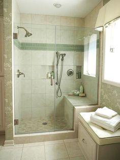12 of 22 Spacious Shower If you prefer to have just a shower in your bathroom, opt to eliminate the tub altogether and fill the space with a larger shower. This tub-size shower offers plenty of bathing space, plus a bench seat and small niches for bath Small Bathroom With Shower, Large Shower, Bathroom Design Small, Walk In Shower, Small Bathrooms, Master Shower, Shower Bathroom, Bathroom Ideas, Shower With Bench