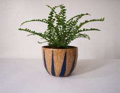 Blue and Tan Carved Triangle Planter by kertis on Etsy, $32.00