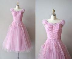 Flon Flon dress / vintage 1940s dress / tulle 40s dress