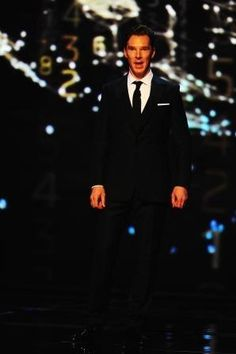 The host himself #Benedict Cumberbatch on stage at #LWSA14