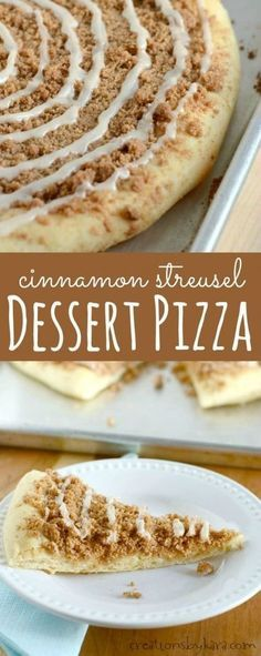 This Cinnamon Crumb Dessert Pizza recipe is inspired by the dessert pizza served at pizza restaurants. But it's even better because you make it yourself!
