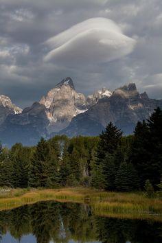 Lenticular Cloud Formation Over Grand Teton Peak