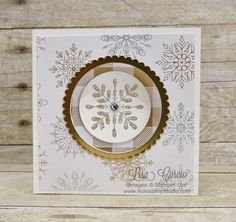 Surprise! This has a swing panel on the front of this card. Video tutorial, cutting dimensions all included. Pop Up Corner Swing Panel card uses Snowflake Sentiments from Stampin' Up!.