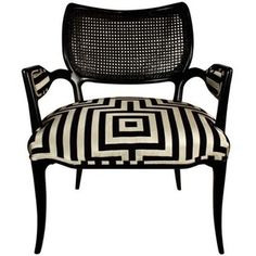 Hollywood Regency Black lacquered chair with geometric Hicks ...