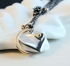 Heart Necklace  Mixed Metal  Jewelry  Charm Pendant  by Hildes