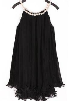 So Gorgeous! Black Patchwork Double-deck Falbala Pearl Sleeveless Chiffon Dress #lbd #pearls #fashion