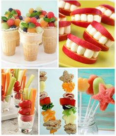 Kid-approved finger foods - cute snacks they can munch on this summer! Finger Foods For Kids, Healthy Finger Foods, Healthy Snacks For Kids, Picnic Finger Foods, Healthy Birthday Treats, Toddler Meals, Kids Meals, Dessert Sans Lactose, Cute Food