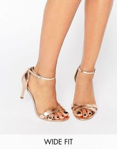 ASOS HIDE AND SEEK Wide Fit Heeled Sandals